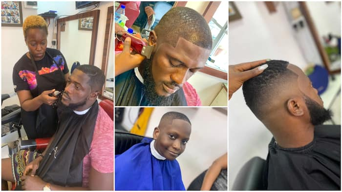 Nigerian female barber gives cool haircuts to clients in Lagos, her amazing skill 'breaks' the internet