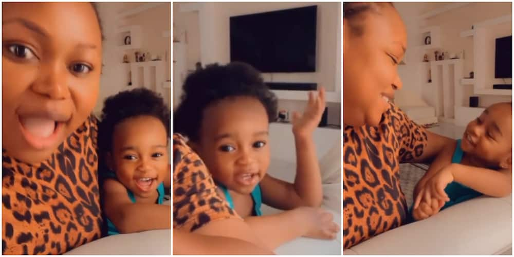 Ruth Kadiri and Lookalike Daughter Melt Hearts of Nigerians With Adorable Video As They Sing Nursery Rhymes