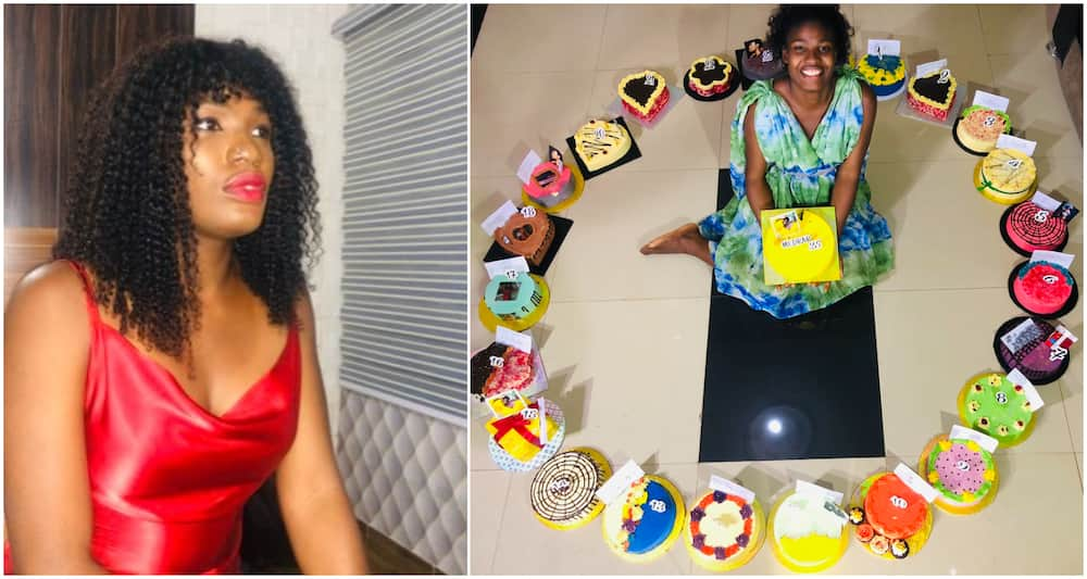 Nigerian lady overjoyed as she gets 25 cakes on her 25th birthday