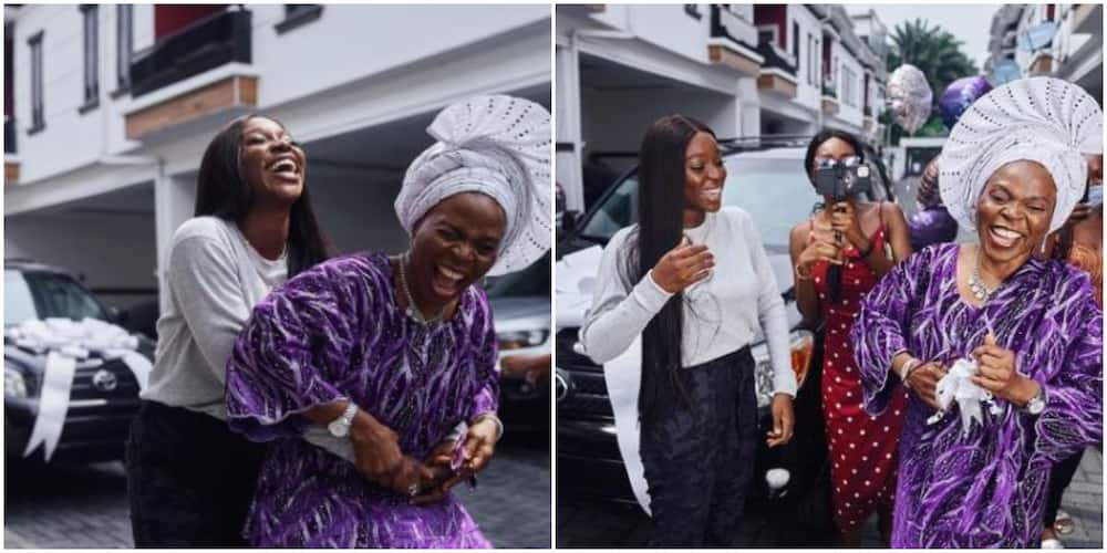Media personality Tomike Adeoye surprises mother with brand new car for being selfless (photos)