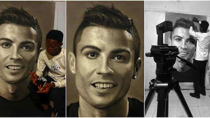 It's so real: Massive reactions as Nigerian artist spends 75 hours drawing cute portrait of Cristiano Ronaldo