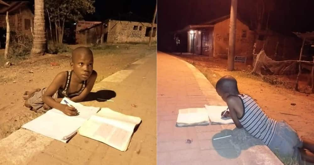 Young boy goes viral for doing his homework under street light at night