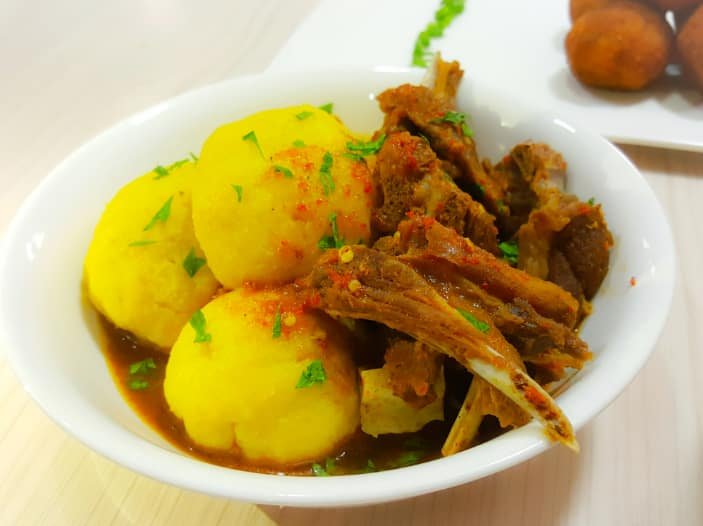 onunu with fish stew