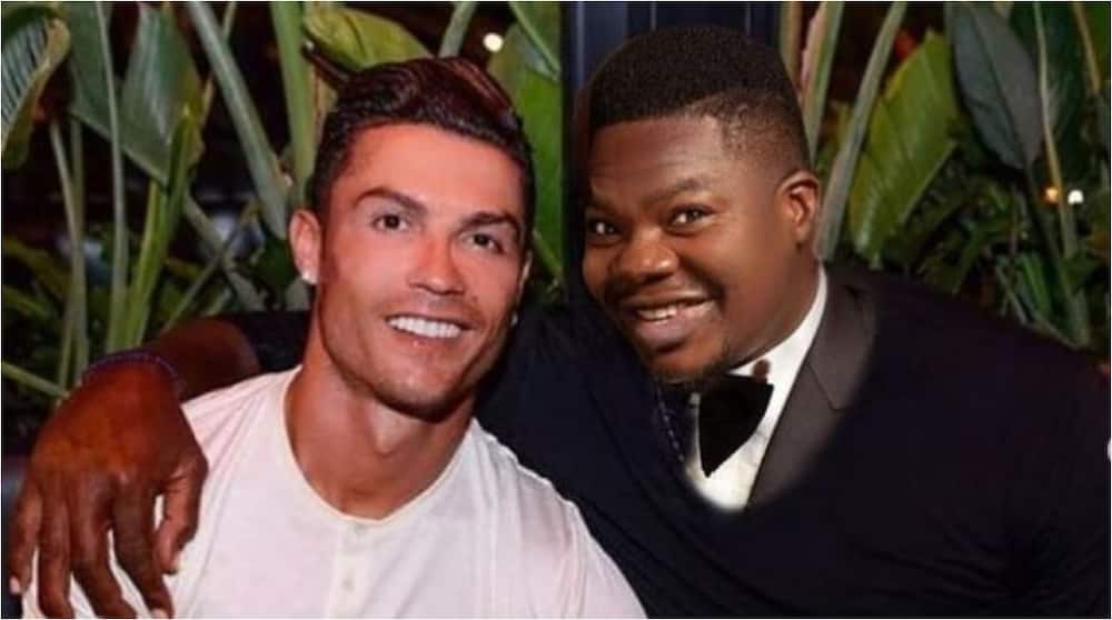 Nigerian Act Mr Macaroni Cries Out After Spotting Himself Alongside Cristiano Ronaldo in a Photo