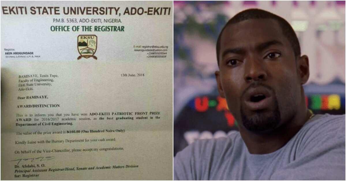 Lady shares letter notifying Ekiti State University best student of N100 cash gift, Nigerians react - Legit.ng