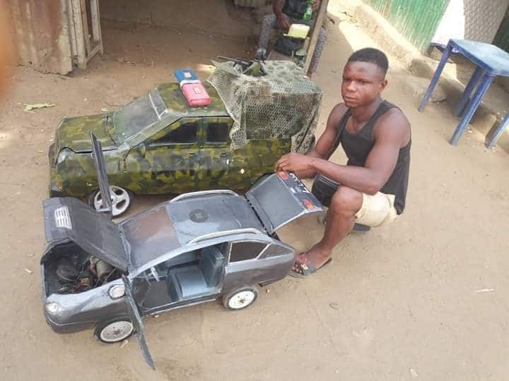 Young man manufactures cars and aeroplane using scrap metals (photos)