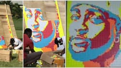 Akwa Ibom artist makes portrait of Davido from 800 Rubik's cubes in 6 hours, singer reacts