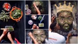 Talented artist recreates Whitemoney's photo using vegetables, okra, pepper, salt and onion, fans react