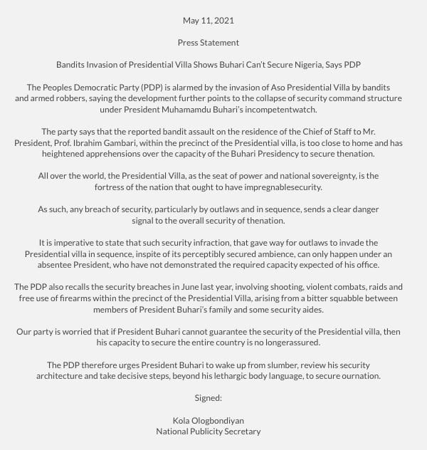 Yunkurin Fashi a Fadar Shugaban Kasa Ya nuna Buhari Ba Zai Iya Tsare Najeriya ba, PDP