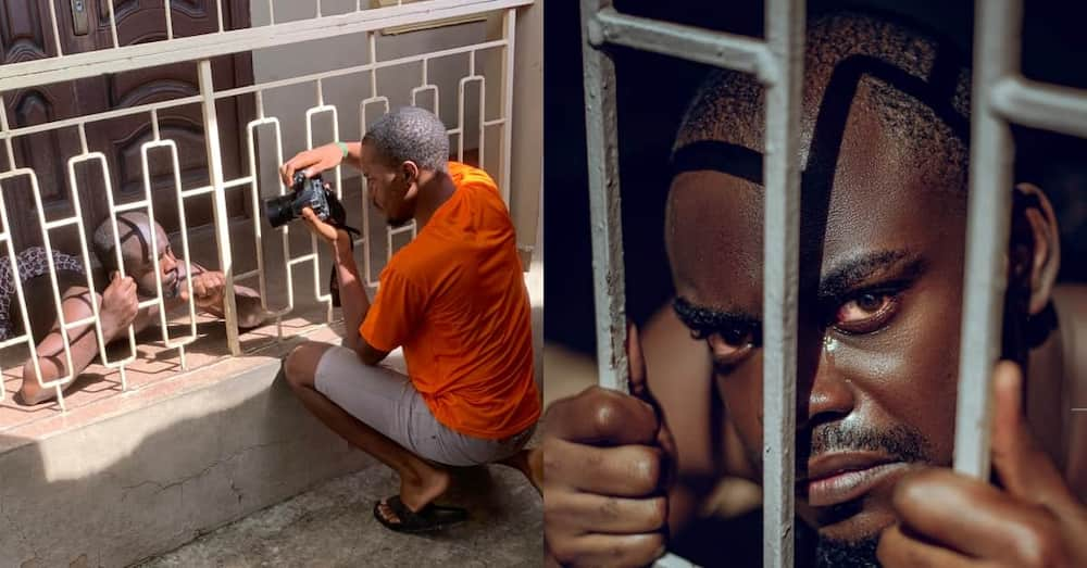 This is so Creative: Photographer Creates Prison Scene as He Takes Photo of Man Behind Bars, Many react