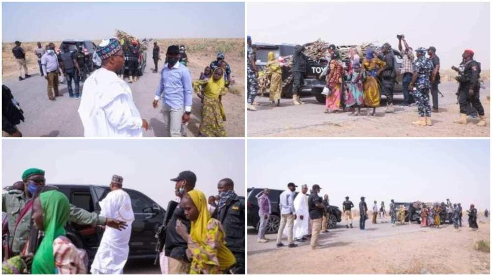 Zulum Stops His Convoy to Assist Women Fetching Firewood, Photos Stir Reactions