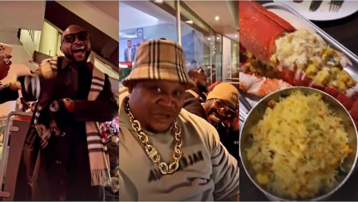 Davido, Cubana Chiefpriest Storm Old Trafford To Support Ronaldo As They Are Treated To Delicious Meals in VIP