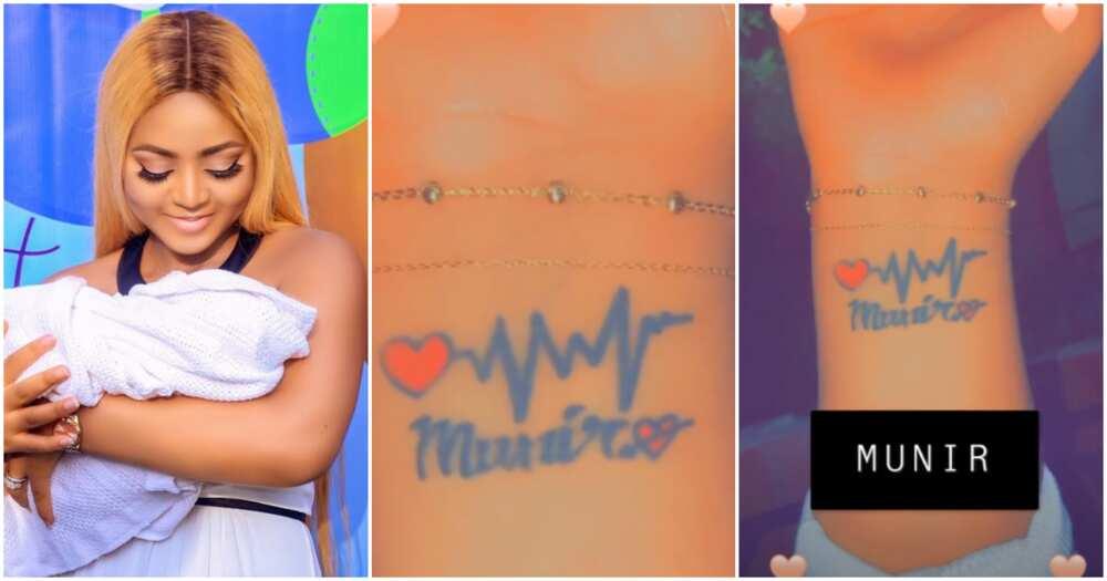 Regina Daniels tattoos son's name on wrist