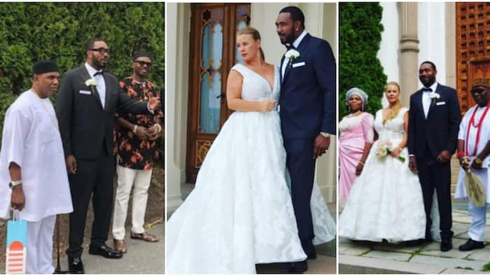 Nigerian celeb E-Money's big brother gets married to oyinbo bae, family shares lovely photos from event