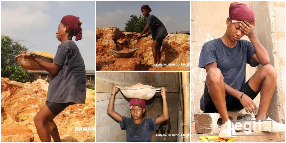 Photos of 20-Year-Old Female Student who Hustles as a Labourer Generates Mixed Reactions on Social Media