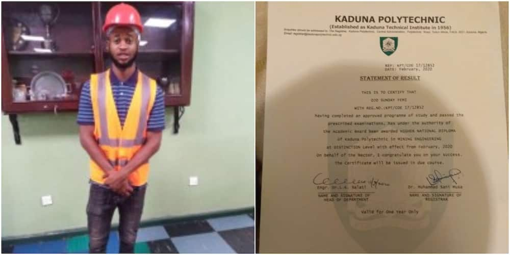Nigerian man who didn't have opportunity to study in university graduates with distinction from polytechnic, vows to do more
