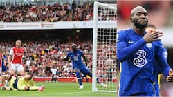 Delighted striker Romelu Lukaku reacts to debut goal for Chelsea in 2-0 win over Arsenal