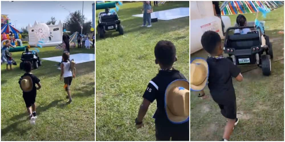 Jamil Follow Your Wife, Davido Tells Tiwa's Son As Male Kid Tries to Hop Into Imade's Toy Car at Her Party