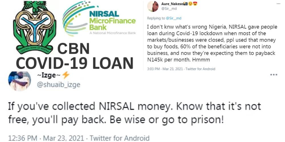 Man shares the amount CBN told his friend to repay because he took the COVID-19 loan, says he may go to prison