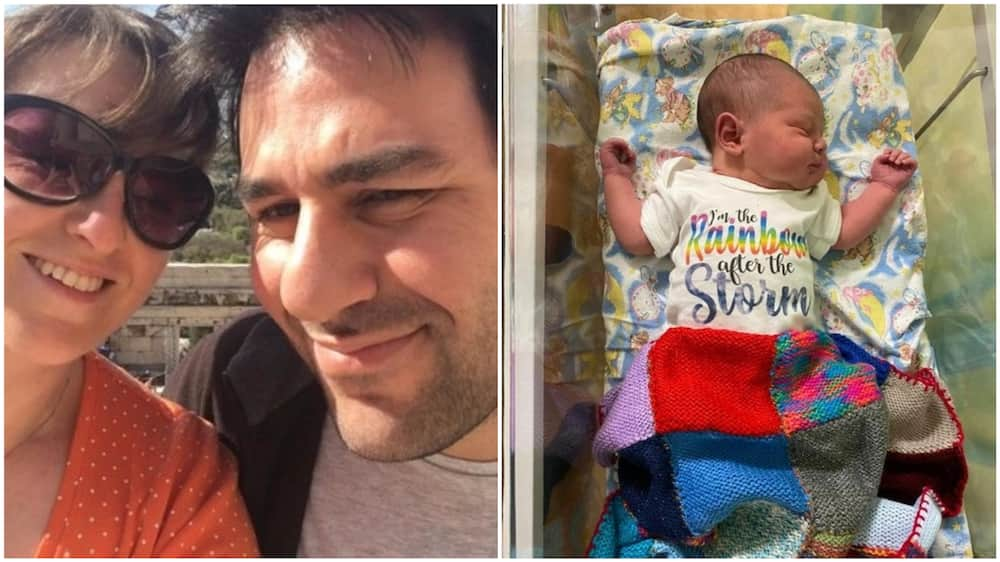 A collage of the happy parents and the newborn. Photo source: Twitter/Jon