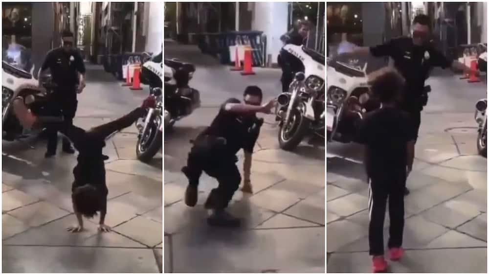 Kid and policeman in hot battle of dance on the street, their video causes massive stirs online