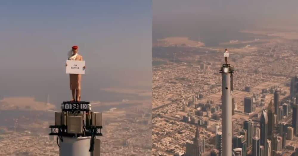 Emirates flight attendant was at the highest point of the Burj Khalifa.
