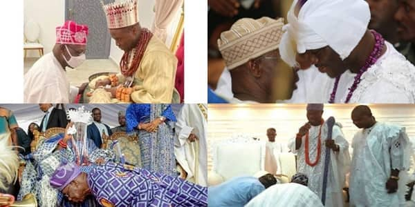Olusegun Obasanjo: 3 Times ex-President Respects Tradition, Kneels down before Kings in Photos