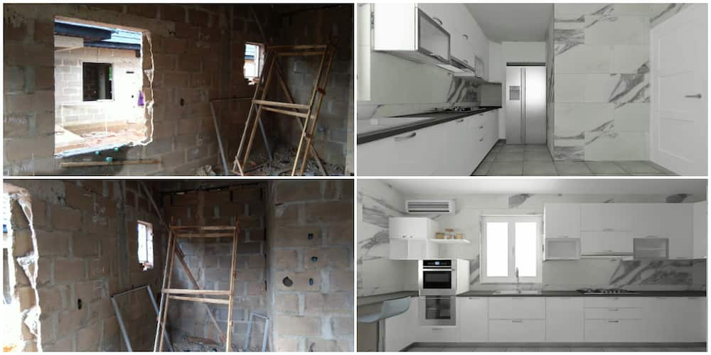 Nigerian Man Transforms Dirty Uncompleted Room into a Beautiful Kitchen, Photos of Its Tasteful Look Wow Many