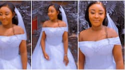 Actress Ini Edo shares stunning video of herself in sparkling white wedding dress, fans react