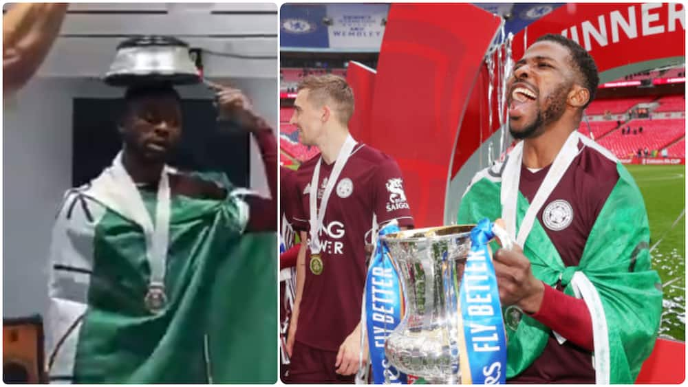 Kelechi Iheanacho Jokingly Asks Teammates If They Want To Buy FA Cup Trophy
