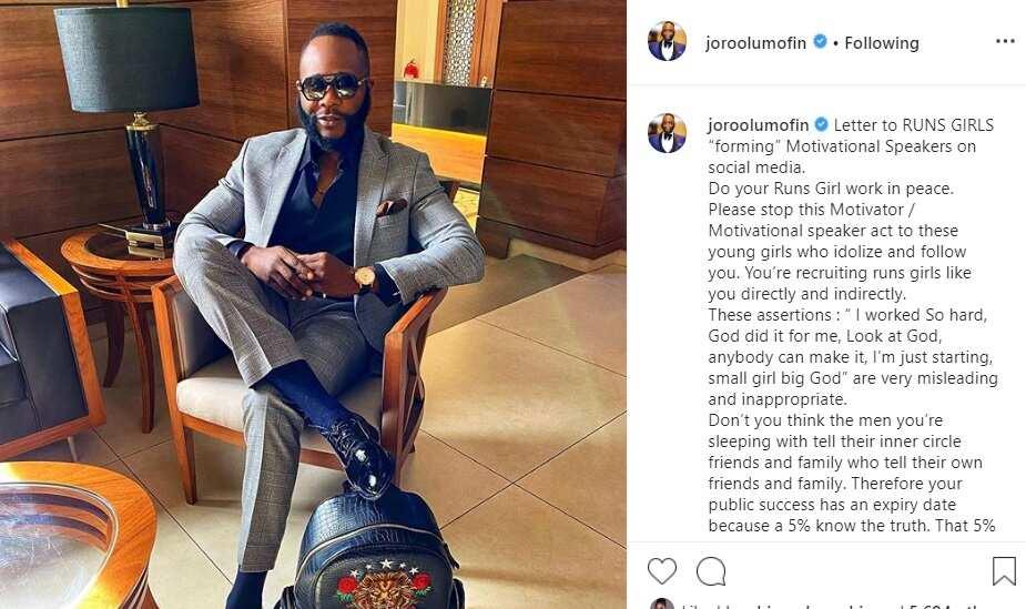 Joro Olumofin writes letter to 'runs girls' acting as motivational speakers online