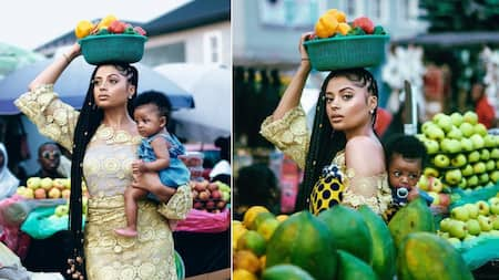 I have the best present on my back - Tekno's baby mama Lola Rae says as she carries child in market-themed birthday photos