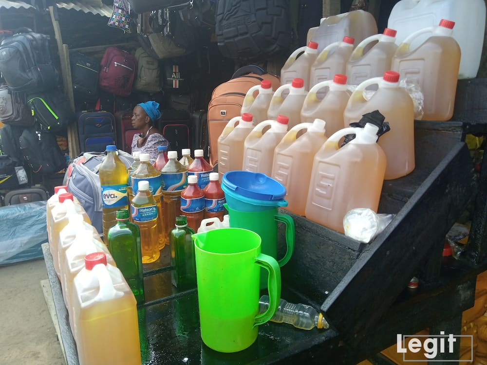Refill groundnut-oil is very scarce in the market only branded ones are available and very expensive. Photo credit: Esther Odili