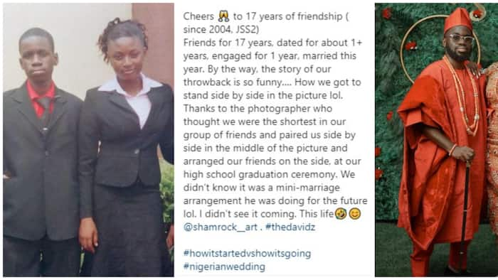 Young lady marries her secondary school classmate after 17 years, shares their 2004 graduation photos