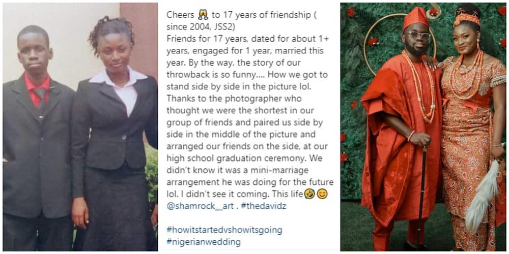 Secondary school classmates marry after 17 years, throwback and wedding photos go viral