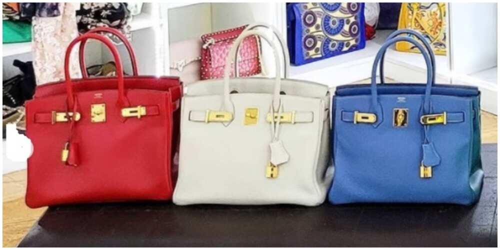 A photo of Linda Ikeji's 3 Hermes bags.