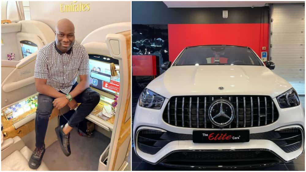 Cut Soap for me: Reactions as Nigerian Big Boy Mompha Shows off his new Mercedes Benz in Viral Photo