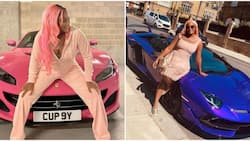 DJ Cuppy asks Ferrari for refund as she poses beside sleek blue ride in new photos