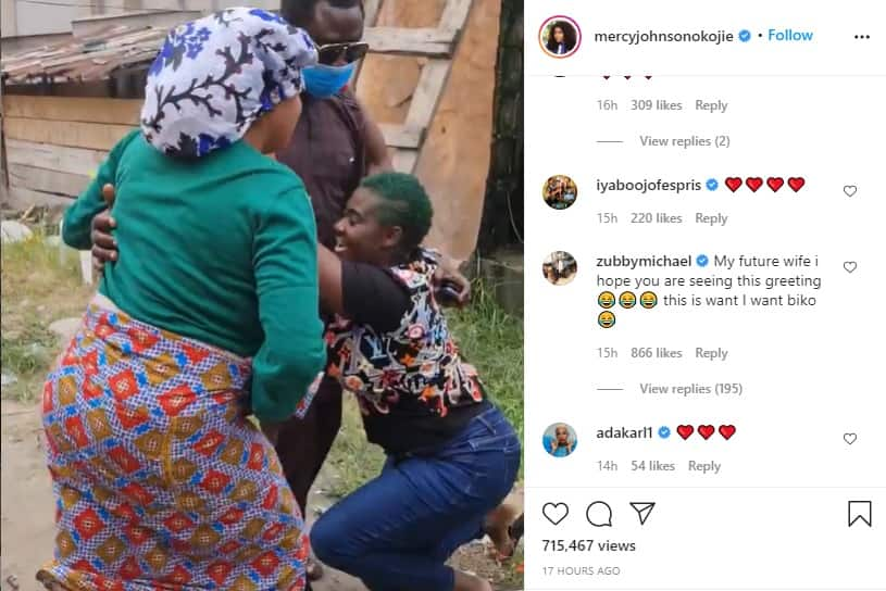 Zubby Michael sends message to future wife as he reacts to video of Mercy Johnson kneeling to greet hubby