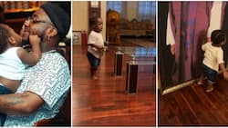 Heir apparent: Davido proudly shows off Ifeanyi as he plays and admires photos in his grandfather's mansion