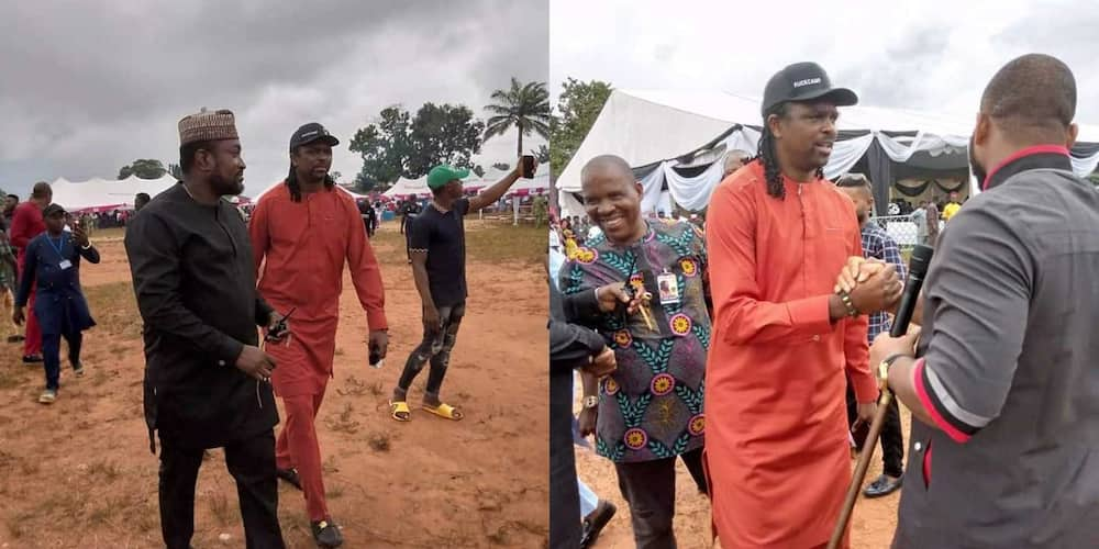 Super Eagles Legend Kanu Storms Oba in Style for Cubana's Mom's Burial as Fans Rush to Take Selfie with Him