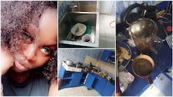 Nigerian lady visits big boy in Benin for the weekend, shares photos of dirty kitchen that chased her out