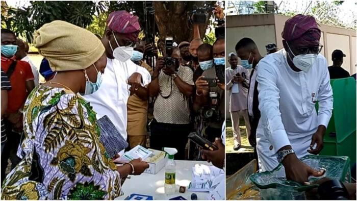 Lagos LG polls: Photos show Governor Sanwo-Olu, wife casting their votes at Ikoyi polling unit