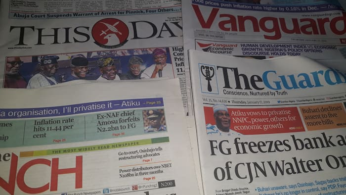 Newspaper review: FG orders freezing of CJN Onnoghen's 5 accounts, senior lawyers protest