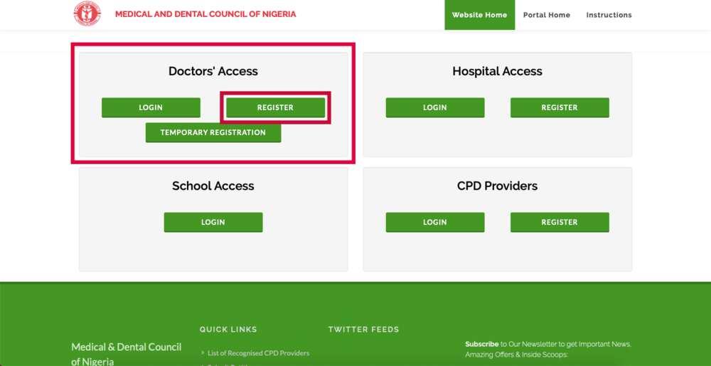 MDCN portal: registration, license exam, payment, license renewal