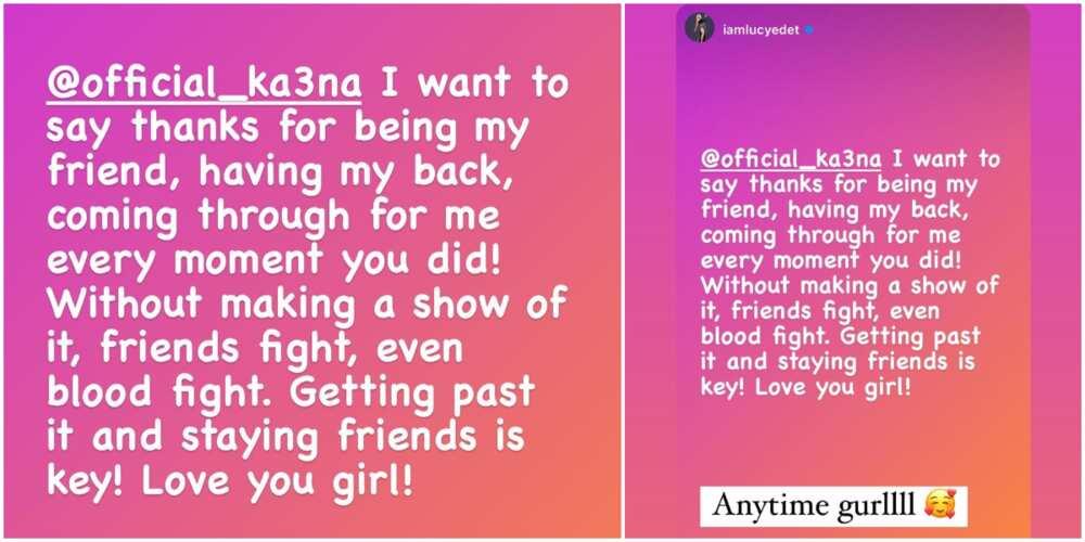 BBNaija Lucy writes Ka3na on IG