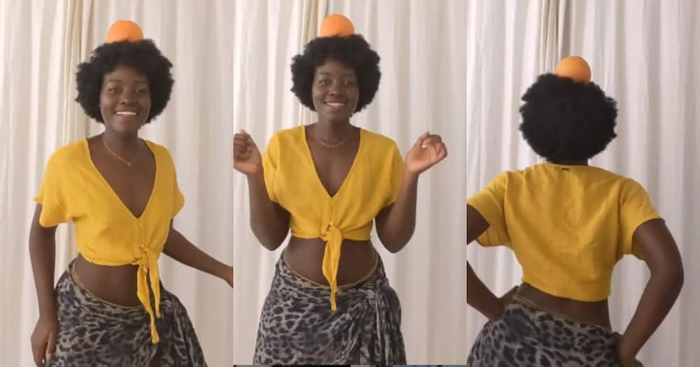 Lupita Nyong'o leaves fans thirsty with sensual waist moves with fruit on her head