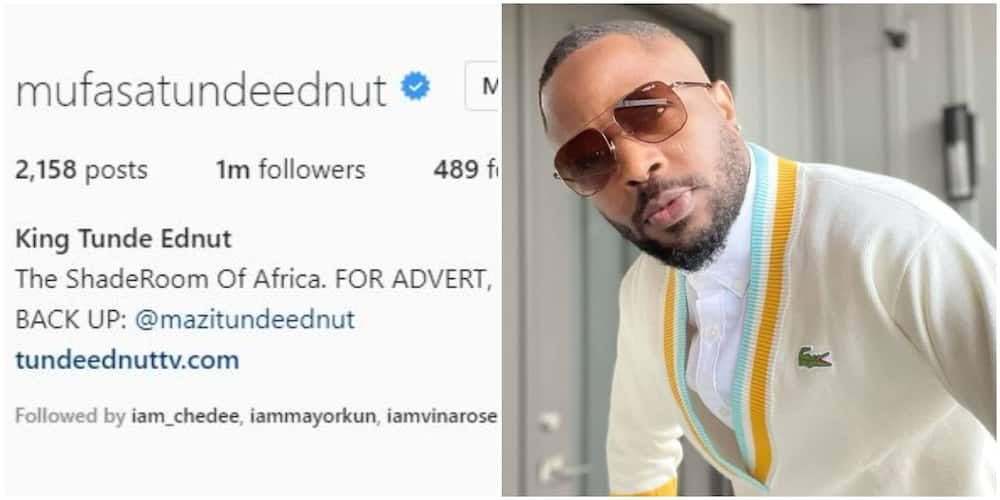 Fans Hail Tunde Ednut as he secures Instagram verification badge