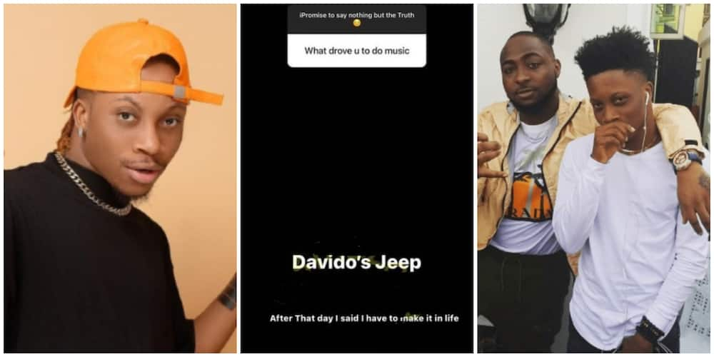Nigerians react as singer Oxlade says Davido's jeep inspired him to do music