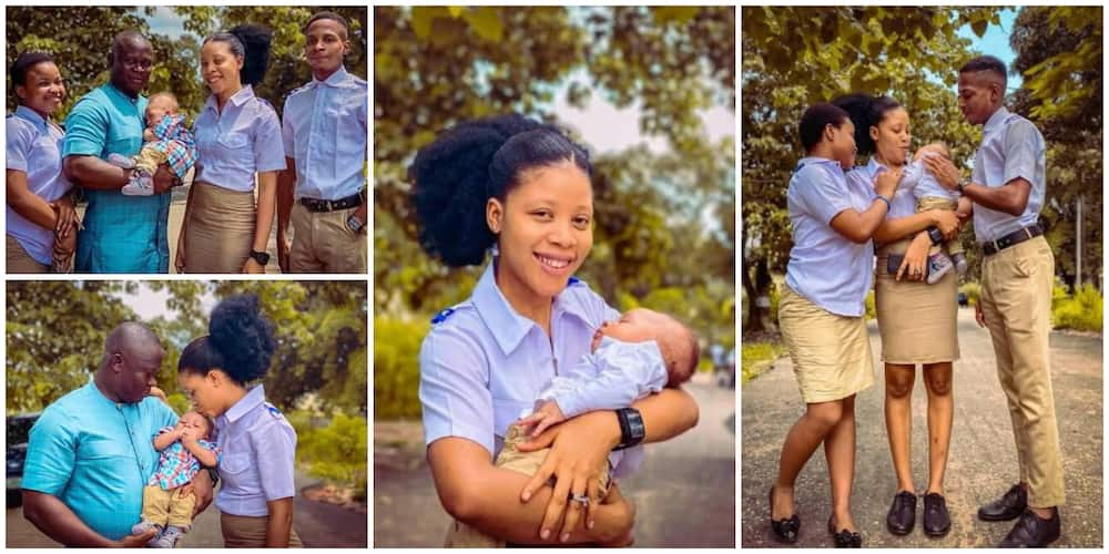 Beautiful photos as husband storms young wife's school for photoshoot a they celebrate a new addition to the family